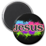 Jesus Neon Static 2 Inch Round Magnet