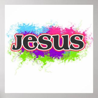 """Jesus"" Neon Static Graphic Poster"