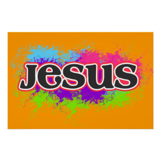 """Jesus"" Neon Static Graphic Poster"