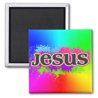 Jesus Neon Static (rainbow) 2 Inch Square Magnet