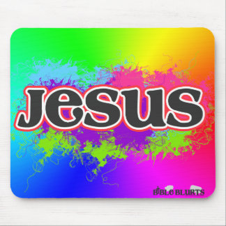 Jesus Neon Static (rainbow) Mouse Pads