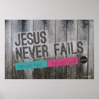 Jesus Never Fails Christian Poster