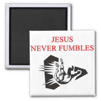 jesus never fumbles 2 inch square magnet
