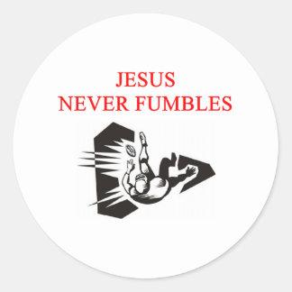 jesus never fumbles classic round sticker