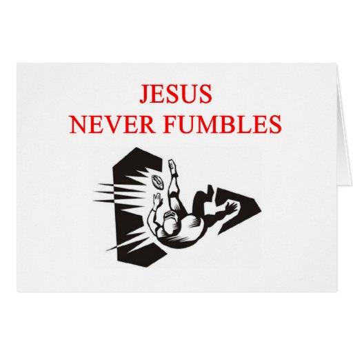 jesus never fumbles greeting card