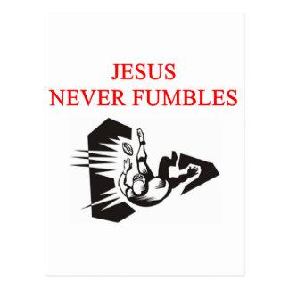 jesus never fumbles postcard