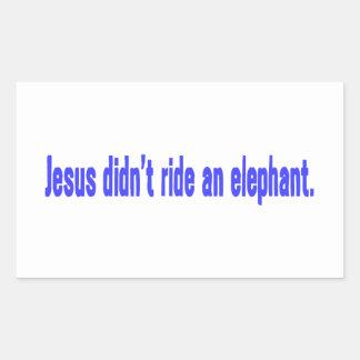 Jesus No Ride Elephant Bumper Rectangular Sticker