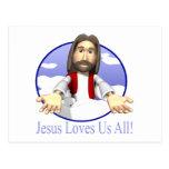 Jesús nos ama todos postal