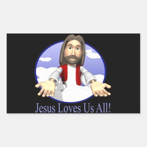 Jesús nos ama todos rectangular altavoz