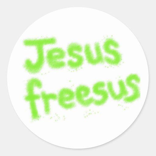 Jesús nos libera pegatinas redondas