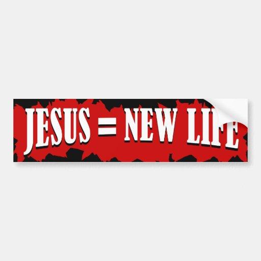 Jesús = nueva vida etiqueta de parachoque