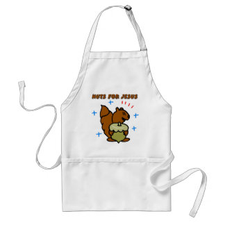 Jesus nut squirrel Christian saying Adult Apron