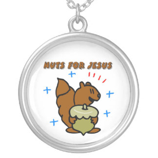Jesus nut squirrel Christian saying Silver Plated Necklace