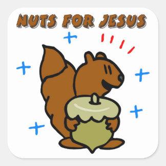 Jesus nut squirrel Christian saying Square Sticker