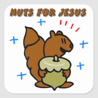 Jesus nut squirrel Christian saying Square Stickers