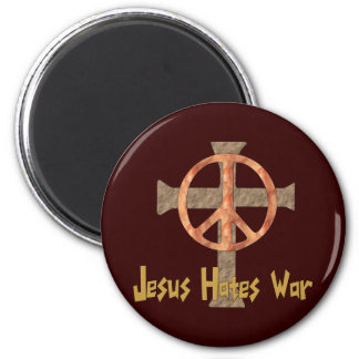 Jesús odia guerra imán redondo 5 cm