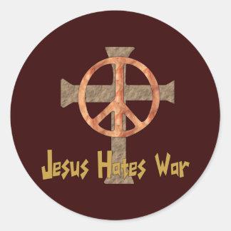 Jesús odia guerra pegatinas redondas