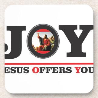 Jesus offers you joy label beverage coaster