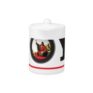 Jesus offers you joy label teapot
