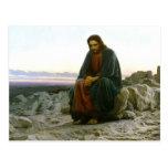 Jesus on a Rock in the Desert Postcard