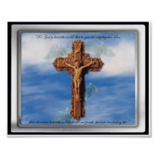 Jesus On Cross in Cloudy Sky 8 x 10 photograph Poster