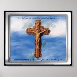 Jesus On Cross in Cloudy Sky 8 x 10 photograph Print