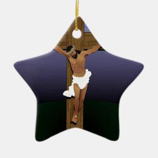 Jesus on Cross.jpg Ceramic Ornament