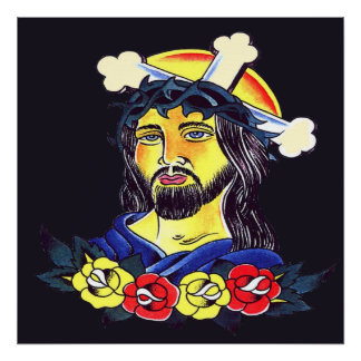 Jesus on Cross Tattoo Poster Print on Canvas. Larg