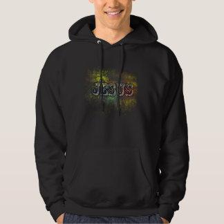 Jesus on Grunge Background Hooded Sweatshirts