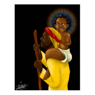 Jesus on Joseph's shoulders Postcard