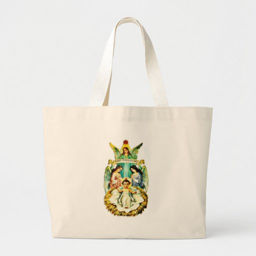 Jesus on mandle , mary and joseph prays and angel canvas bags