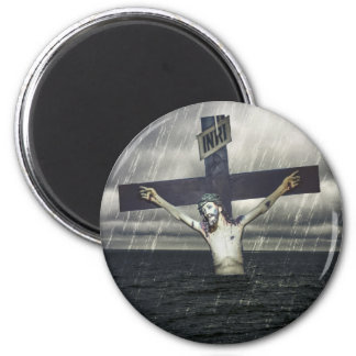 Jesus on the Cross at the Sea 2 Inch Round Magnet