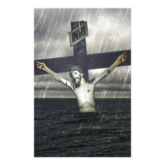 Jesus on the Cross at the Sea Stationery