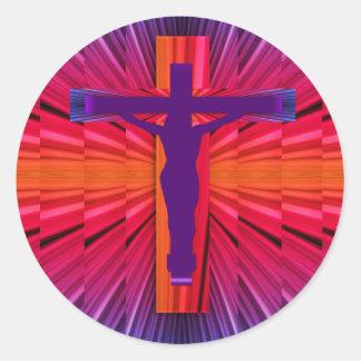 Jesus on the Cross Classic Round Sticker
