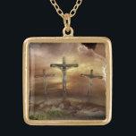 "JESUS ON THE CROSS GOLD PLATED NECKLACE<br><div class=""desc"">GOD BLESS HIM</div>"