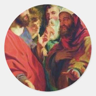 Jesus, on the left, instructing Nicodemus Classic Round Sticker