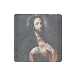 Jesus Opens His Heart to Us Stone Magnet
