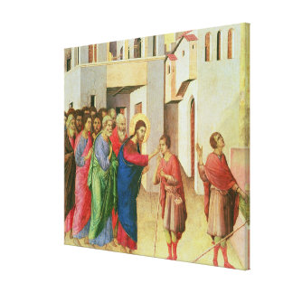 Jesus Opens the Eyes of a Man Born Blind, 1311 Canvas Print