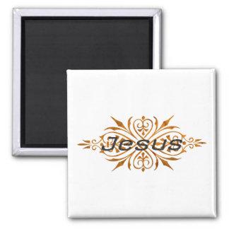 Jesus Ornement2 Cuivre noir. 2 Inch Square Magnet