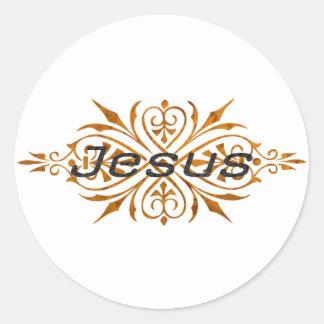 Jesus Ornement2 Cuivre noir. Classic Round Sticker