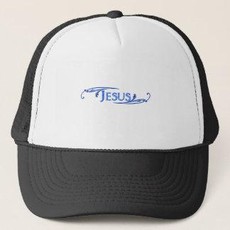 Jesus ornement bleu bleu foncé. trucker hat