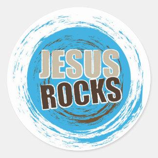 Jesús oscila 4 azules y el choc pegatina redonda