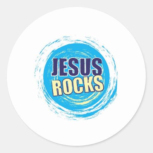 Jesús oscila 7 azules y amarillos pegatina redonda