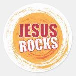 Jesús oscila el naranja 2 pegatina redonda