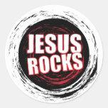 Jesús oscila el negro 5 pegatina redonda