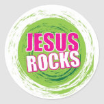 Jesús oscila el verde 3 etiqueta redonda