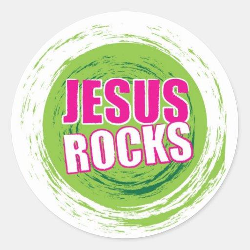 Jesús oscila el verde 3 pegatina redonda