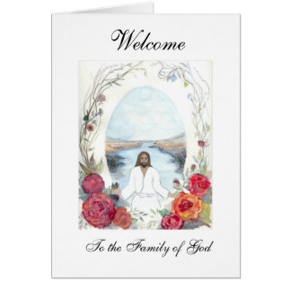 Jesus Oval Welcome Greeting Cards