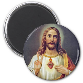 Jesus Peace Sign Sacred Heart 2 Inch Round Magnet