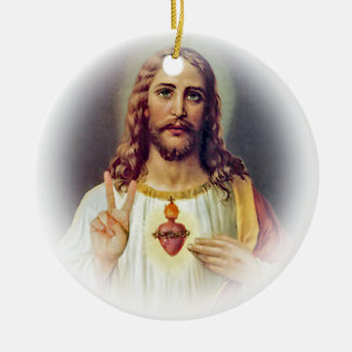 Jesus Peace Sign Sacred Heart Ceramic Ornament